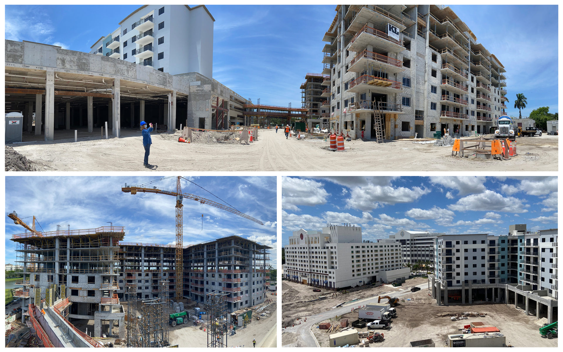 Construction photos of Plantation Walk's residential towers.